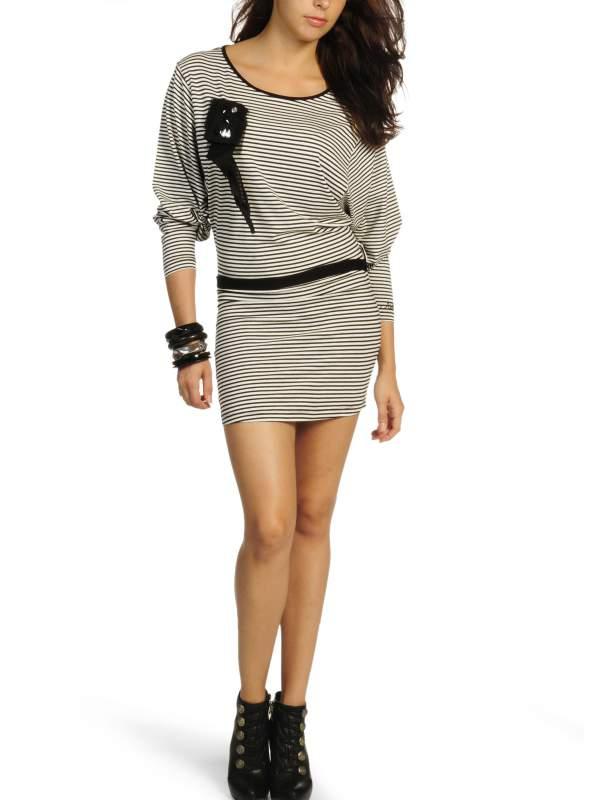 kaufen Kleid ecru/schwarz 0775