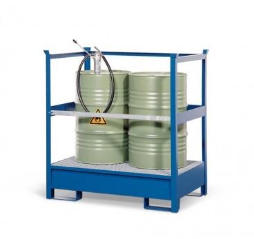 kaufen Gefahrstoffstation 2 P2-R aus Stahl, lackiert, für 2 Fässer à 200 Liter, mit Rahmen, stapelbar
