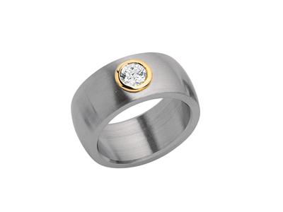 kaufen Ring Stahl / Gelbgold 14 Kt., Zirkonia