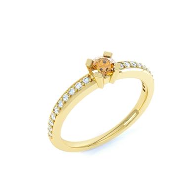 kaufen Ring mit Citrin und weißem Saphir Annatinka
