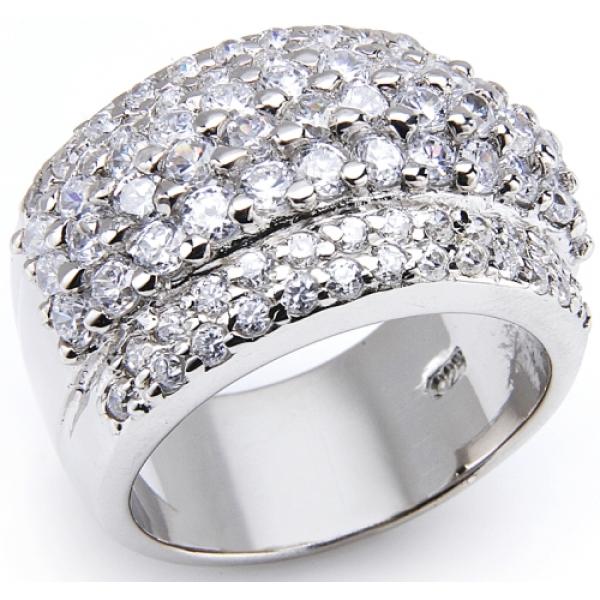 kaufen Silber Ring mit Zirkonia Luxuriöser BLING-BLING