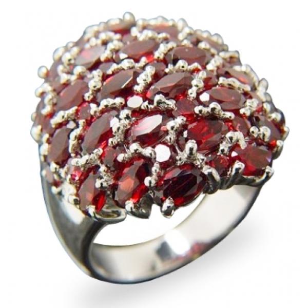 kaufen Luxuriöser Silberring mit 53 afrikanischen Granat Edelsteinen