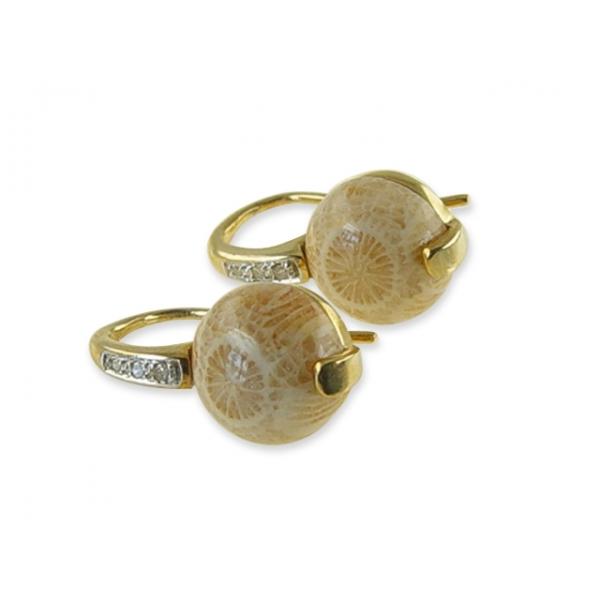 kaufen Fossilkoralle Ohrhänger aus 375er Gelbgold