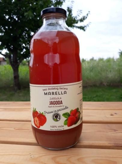Te koop Appel - Aardbei - Sap 100% natuurlijk zonder suiker zonder water in glazen fles