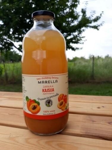 Comprar Manzana y zumo de albaricoque 100% natural, sin azúcar y sin agua en botellas de vidrio
