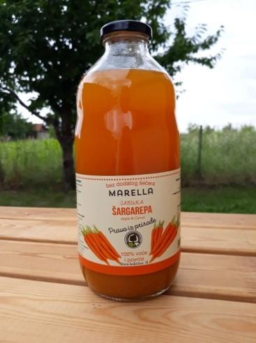 Купить Яблочно морковный сок 100% натуральный без сахара без воды в стеклянных поверхностях