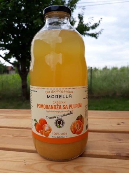 Buy Apple orange juice 100% natural without sugar without water in a glass bottle