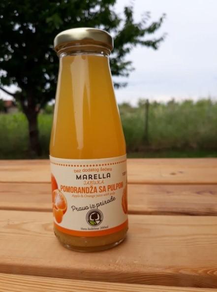 شراء عصير التفاح والبرتقال طبيعي 100٪ بدون سكر بدون ماء في قنينة زجاجية