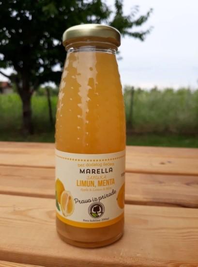 Купить Сок Яблочно-лимонный с мятой 100% натуральный, без сахара, без воды в стеклянной бутылке