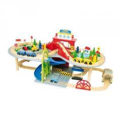 Holzspielzeug Eisenbahn aus Holz mehrstöckig