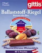 Gittis Ballaststoffriegel Pflaume/Zitrone 28g /