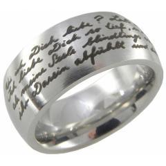 Edelstahl-Ring mit Rilke-Liebesgedicht