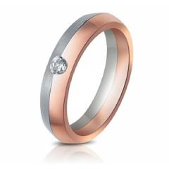 18 kt. Weissgold/Rotgold Ring mit Brillant